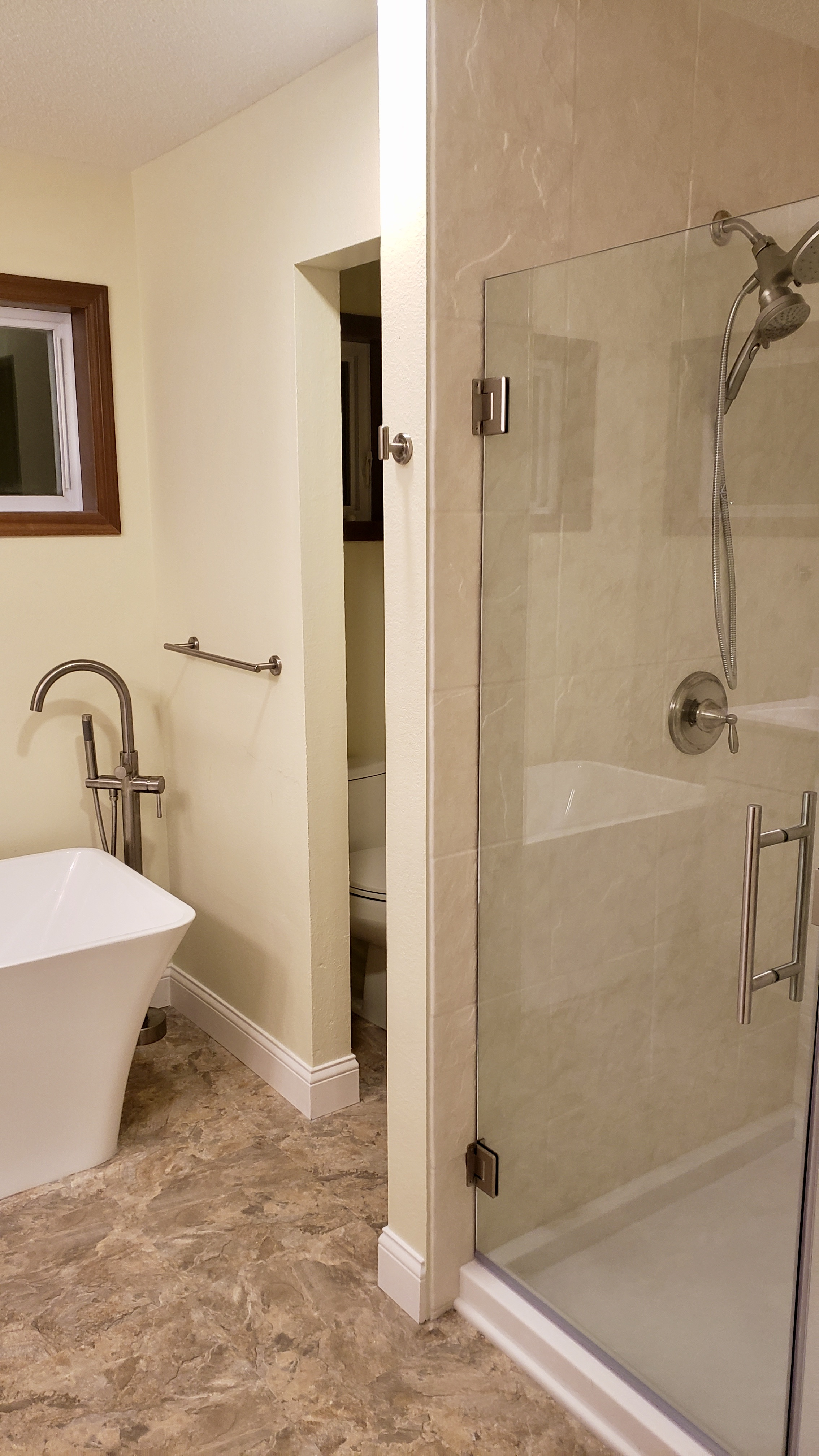 After: Durabath Ivory Marble Walk-in Shower with Freestanding Tub