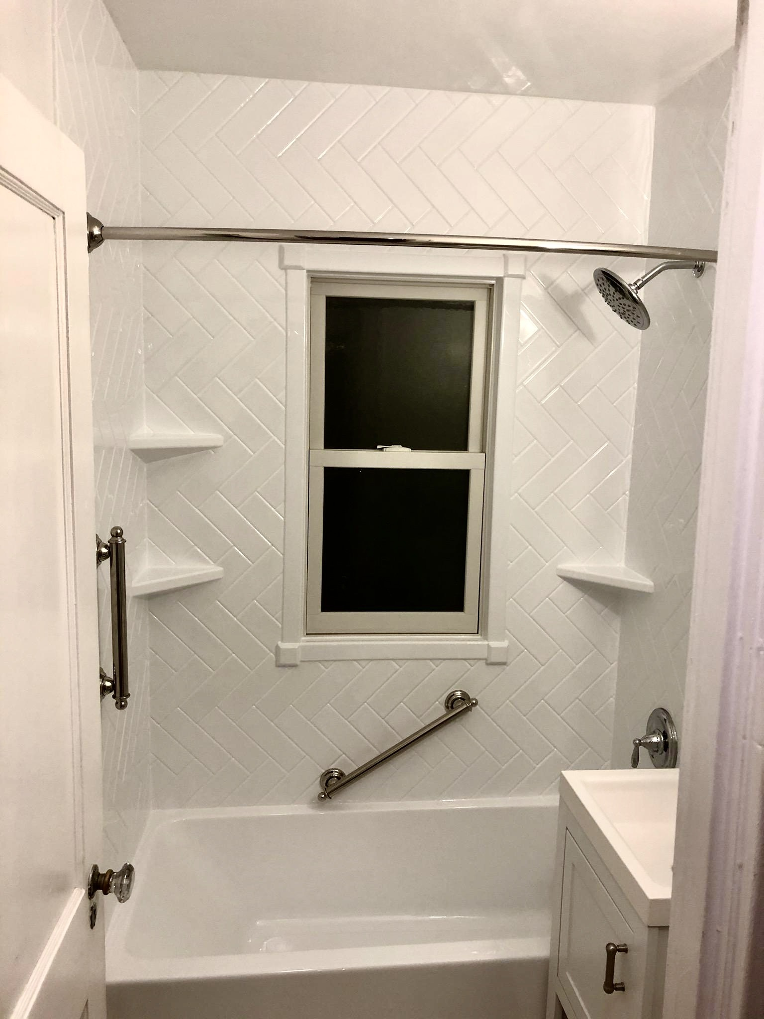Re-Bath Durabath White Herringbone Surround, Custom Shelving and Grab Bars