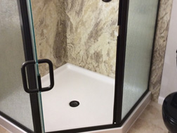 AFTER - New Valencia Granite Acrylic Surround with White Neo-Angle Shower Pan