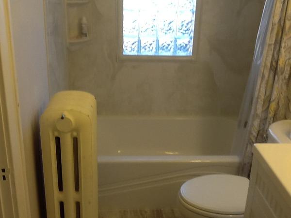 AFTER   New Glass Block Window, Shower Surround U0026 Bathtub
