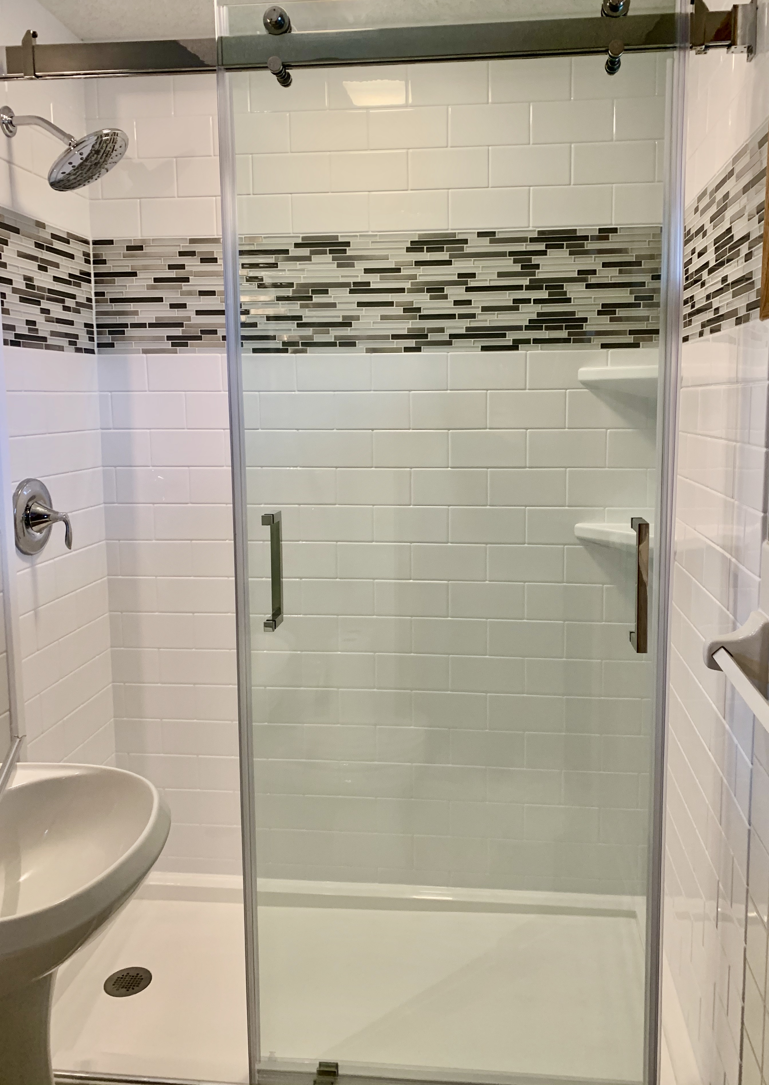 After, Re-Bath White Subway Surround with Mosaic Tile Trim