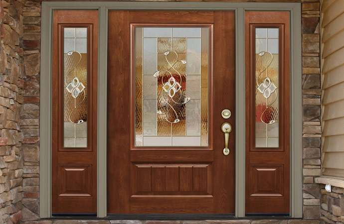 Realistic woodgrain entry door